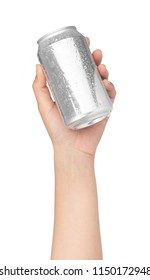hand holding beverage tin can with water drops isolated on white background