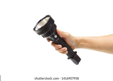 Hand holding a big LED torch isolated / Flashlight for camping