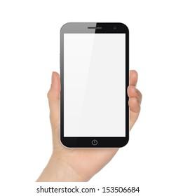 Hand holding big smart phone on white background