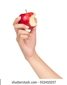 hand holding bite red apple isolated on white background