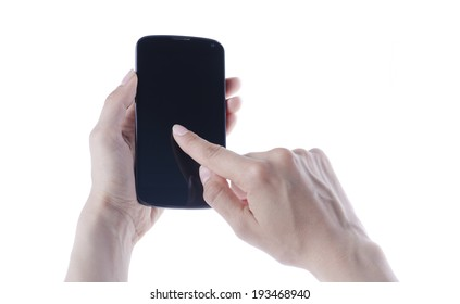 Hand holding black android smart phone isolated on white background