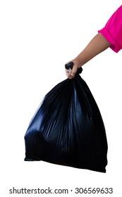 Hand holding black bag on  White background