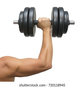 Hand holding black dumbbell isolated on white