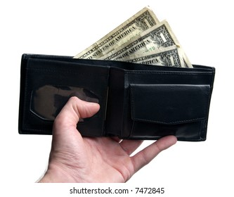 Hand holding black leather wallet with dollar bills sticking out isolated on white background