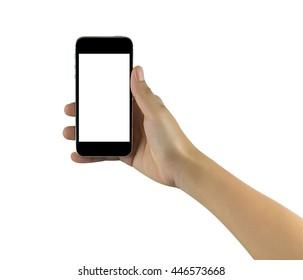 Hand holding black mobile phone isolated on white background
