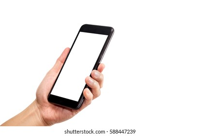 Hand holding black mobile phone with blank screen isolated on white background,Mock up for display of your content of replace with background