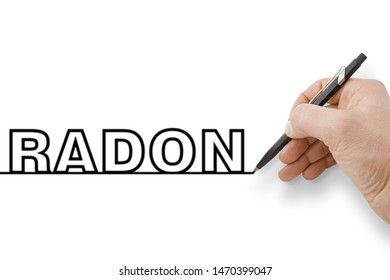 Hand holding a black pencil drawing a perfectly straight black line on white background with Radon text over it