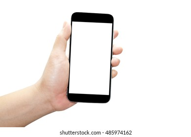 hand holding black phone isolated on white background.