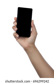 hand holding black phone isolated on white