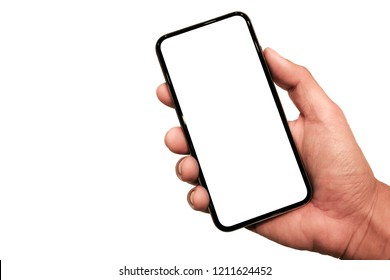 Hand holding, black slim smartphone similar to iphone xs max with blank white screen from Apple generation 10 , mockup model similar to iPhonex isolated on Background of digital economy.