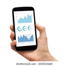 Hand holding a black smart phone with graphs and charts elements on screen. Isolated on white background. All screen content is designed by me.