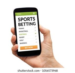 Hand holding a black smart phone with sports betting concept on screen. Isolated on white background. All screen content is designed by me.