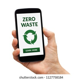 Hand holding a black smart phone with zero waste concept on screen. Isolated on white background. All screen content is designed by me.