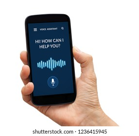 Hand holding a black smart phone with voice assistant concept on screen. Isolated on white background. All screen content is designed by me.