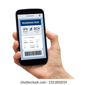 Hand holding a black smart phone with boarding pass concept on screen. Isolated on white background. All screen content is designed by me.