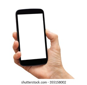 Hand holding a black smart phone with white blank empty screen. Isolated on white background.