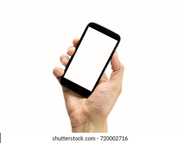 hand holding a black  smart phone with white background