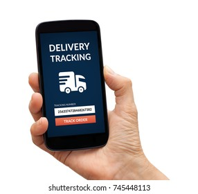 Hand holding a black smart phone with delivery tracking concept on screen. Isolated on white background. All screen content is designed by me.