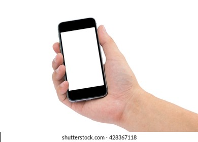 Hand holding the black smartphone