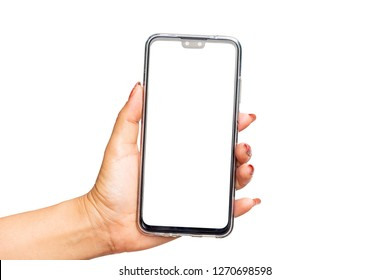 hand holding the black smartphone with blank screen and modern frame less design - isolated on white background with clipping path. - Image