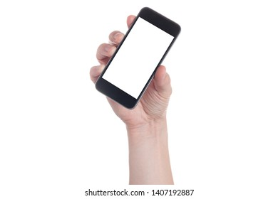 Hand holding black Smartphone with blank screen on white backgroun.
