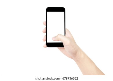 Hand holding black smartphone with blank screen isolated on white background. Clipping path embedded.