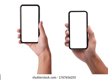 Hand holding the black smartphone iphon with blank screen and modern frameless design in two rotated perspective positions - isolated on white background - Clipping Path - Shutterstock ID 1767656255