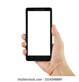 Hand holding black smartphone isolated on white background with clipping path.