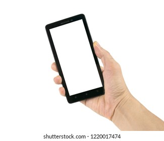 Hand holding black smartphone or mobile phone isolated on white background with clipping path. Concept for advertising work or job ad.