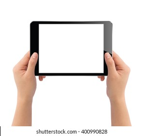 hand holding black tablet isolated on white clipping path inside easy adjusment