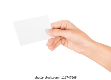 Hand holding blank business card. Isolated on white.