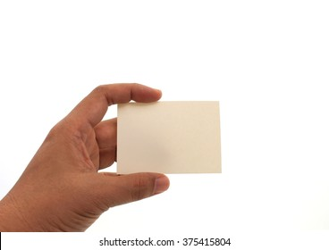 hand holding blank business card in hand. Isolated on white