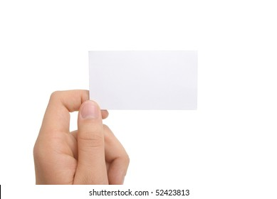hand holding blank business card with clipping paths