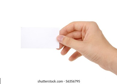 hand holding blank business card [