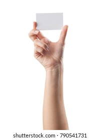 Hand holding blank card isolated