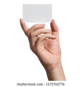 Hand holding a blank card or a ticket/flyer, isolated on white background