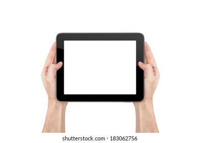 Hand holding blank empty white tablet, isolated on white background.