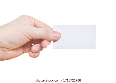Hand holding blank paper business card, isolated on white background