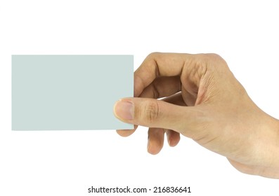 Hand holding blank paper business card, close up isolated on white background