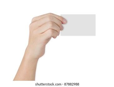 hand holding blank paper business card isolated on white