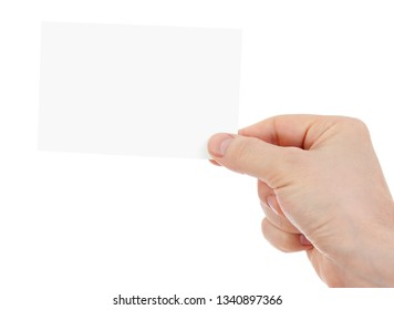 hand holding blank paper card isolated with two clipping paths included - one with hand and the second with card.