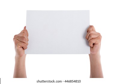 Hand holding blank paper isolated.