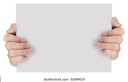 hand holding blank paper isolated on white background 5