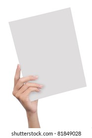 hand holding blank paper isolated on white background 4