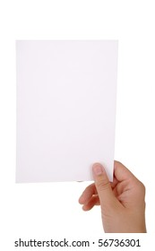 hand holding blank paper sheet with clipping paths