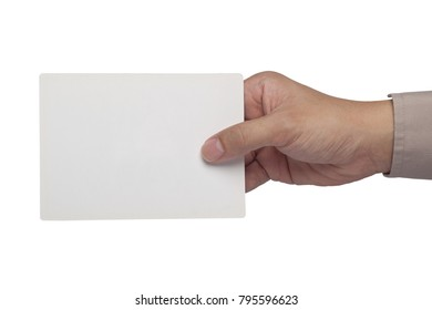 Hand holding a blank rectangular paper card isolated on white background