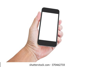 Hand holding blank screen mobile phone isolated on white background; clipping path