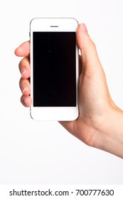 Hand Holding Blank Screen Smartphone on White Background