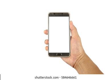 Hand holding a blank smartphone on white background.