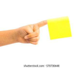 hand holding blank sticky note isolated on white background